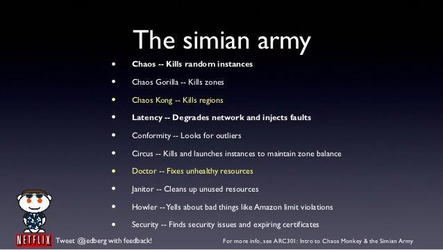 The simian army                •     Chaos -- Kills random instances                •     Chaos Gorilla -- Kills zones    ...