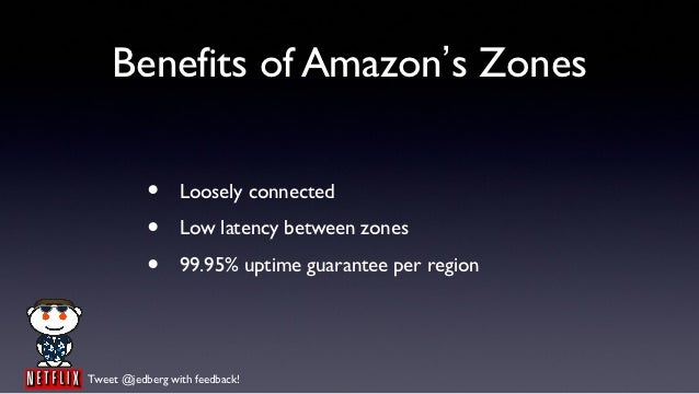 Benefits of Amazon's Zones           •     Loosely connected           •     Low latency between zones           •     99....