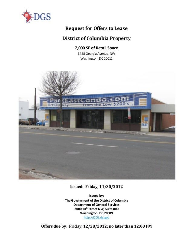 Request for Offers to Lease          District of Columbia Property                  7,000 SF of Retail Space              ...