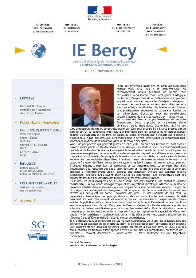 IE Bercy                                   La lettre d'information de l'Intelligence Economique                           ...