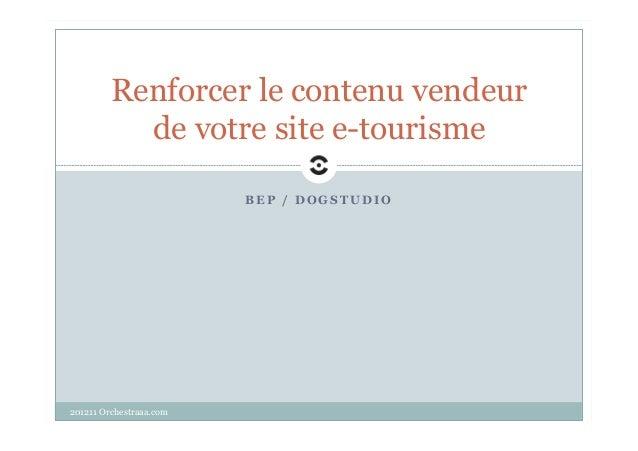 Renforcer le contenu vendeur           de votre site e-tourisme                         BEP / DOGSTUDIO201211 Orchestraaa....
