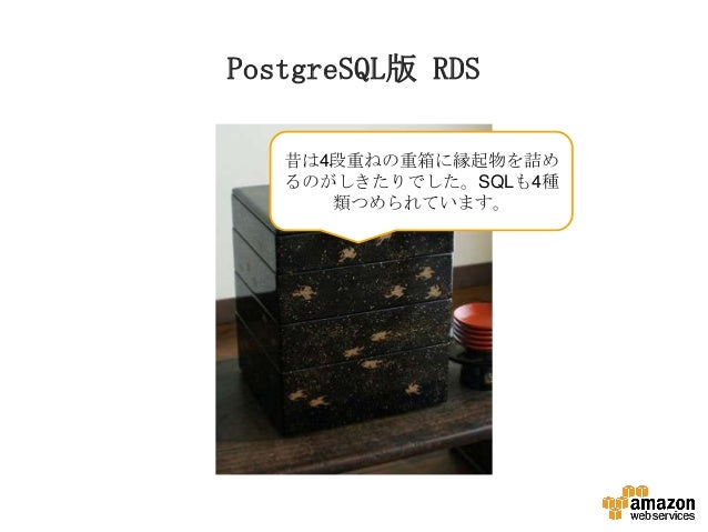PostgreSQL版 RDS 昔は4段重ねの重箱に縁起物を詰め るのがしきたりでした。SQLも4種 類つめられています。