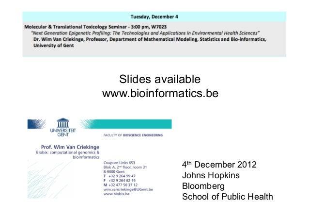 Slides availablewww.bioinformatics.be              4th December 2012              Johns Hopkins              Bloomberg    ...