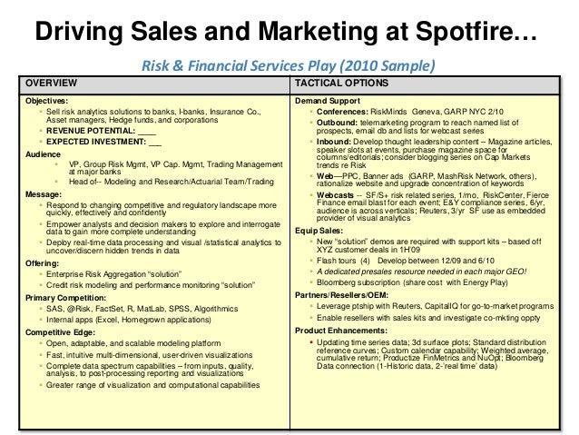Driving Sales and Marketing at Spotfire…                                 Risk & Financial Services Play (2010 Sample)OVERV...
