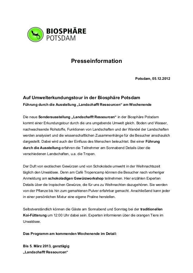 Presseinformation                                                                    Potsdam, 05.12.2012Auf Umwelterkundun...