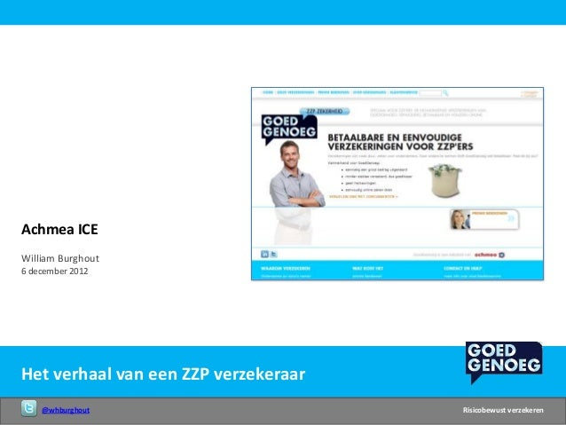 Achmea ICEWilliam Burghout6 december 2012Het verhaal van een ZZP verzekeraar    @whburghout                       Risicobe...