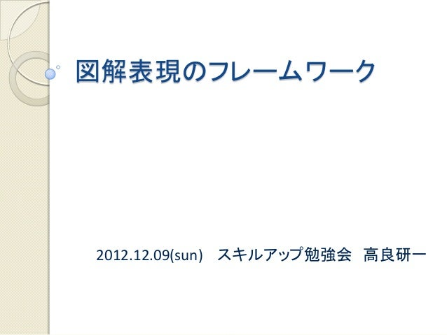 図解表現のフレームワーク2012.12.09(sun) スキルアップ勉強会 高良研一