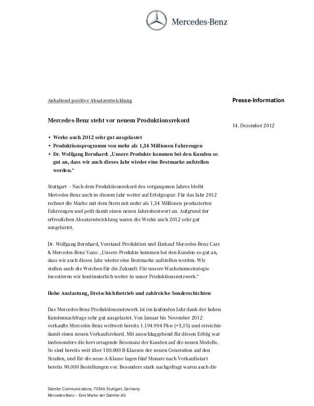 Anhaltend positive Absatzentwicklung                                           Presse-InformationMercedes-Benz steht vor n...
