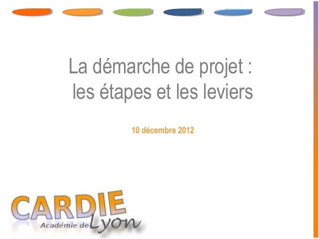 La démarche de projet :les étapes et les leviers        10 décembre 2012