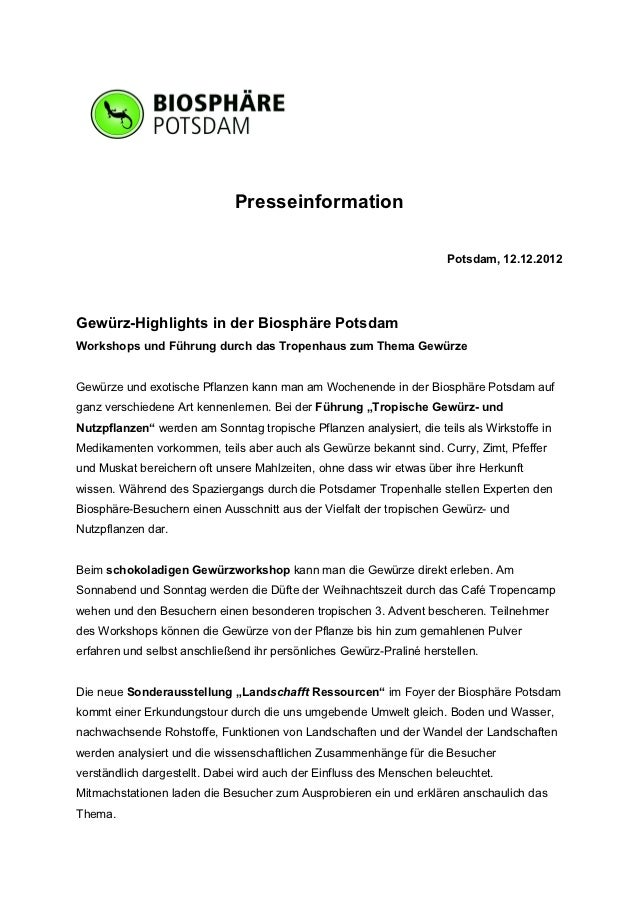 Presseinformation                                                                      Potsdam, 12.12.2012Gewürz-Highlight...