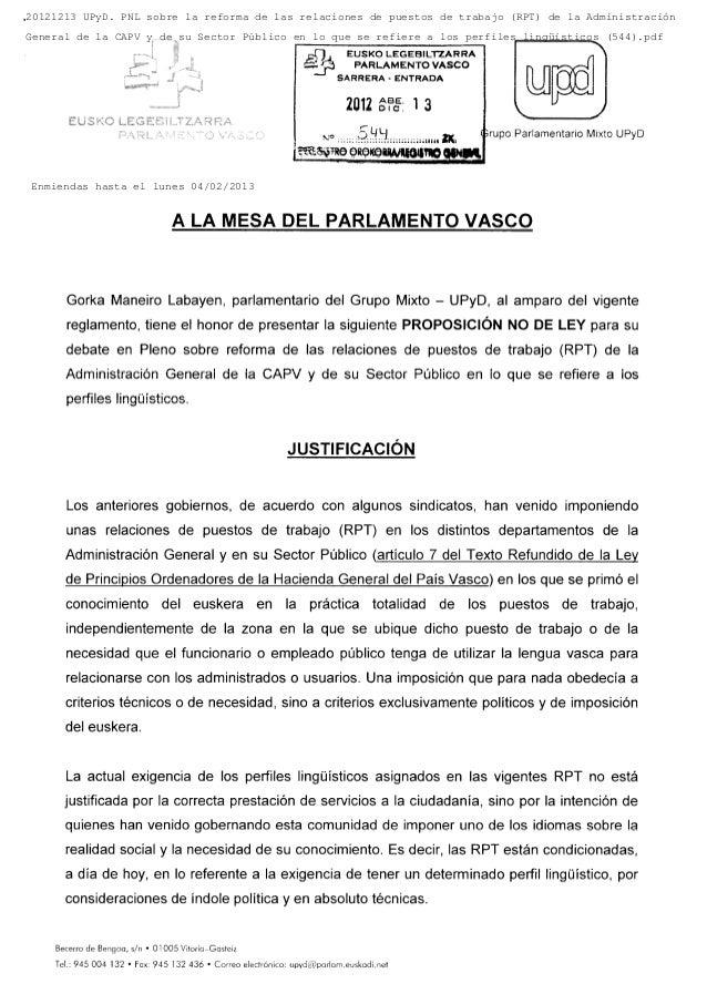20121213 UPyD. PNL sobre la reforma de las relaciones de puestos de trabajo (RPT) de la AdministraciónGeneral de la CAPV y...