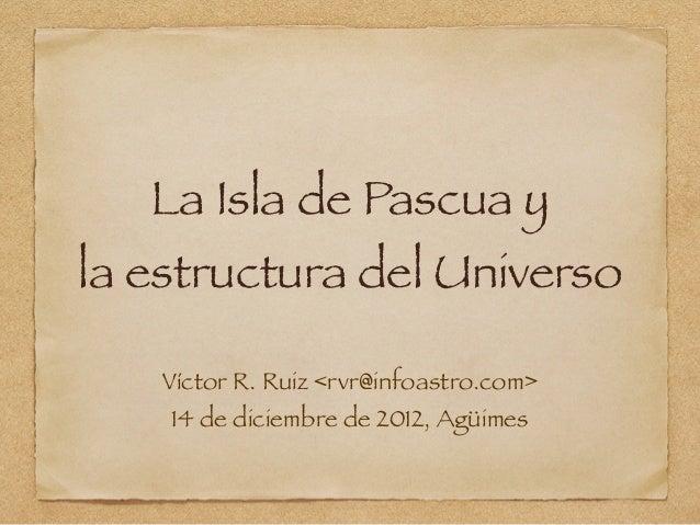 La Isla de Pascua yla estructura del Universo    Víctor R. Ruiz <rvr@infoastro.com>    14 de diciembre de 2012, Agüimes