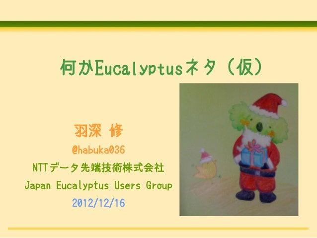 何かEucalyptusネタ (仮)         羽深 修         @habuka036 NTTデータ先端技術株式会社Japan Eucalyptus Users Group         2012/12/16