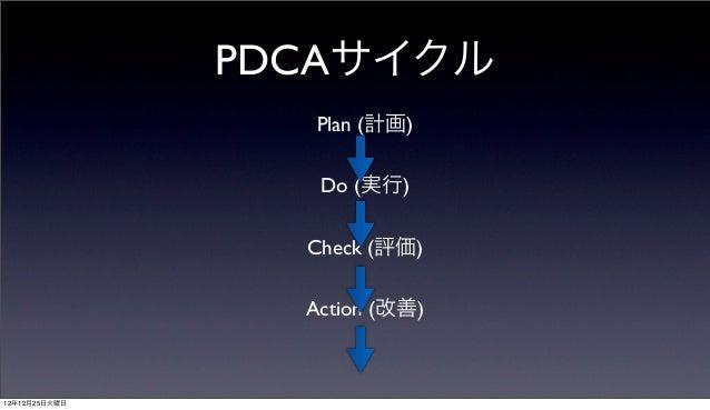 PDCAサイクル                  Plan (計画)                  Do (実行)                 Check (評価)                 Action (改善)12年12月2...
