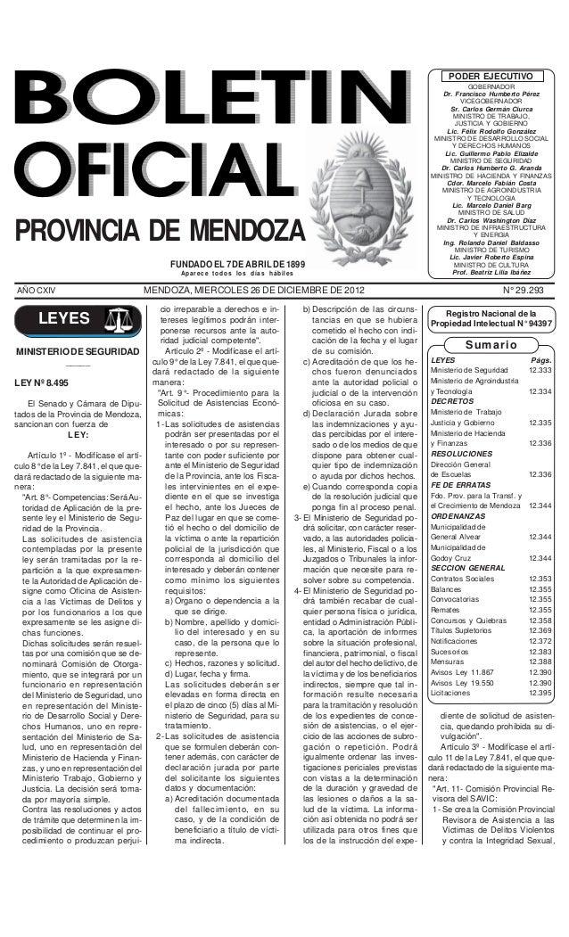 BOLETIN OFICIAL - Mendoza, miércoles 26 de diciembre de 2012                                                   12333      ...