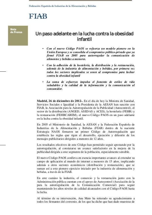 Un paso adelante en la lucha contra la obesidad                   infantil    •   Con el nuevo Código PAOS se refuerza un ...