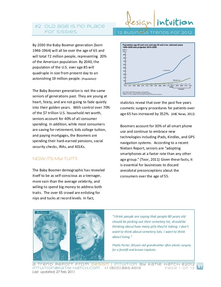 #2 old age is no place    for sissies                                        1 2 business trends for 20 12By 2030 the Baby...