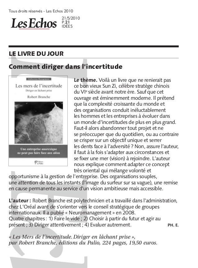 Tous droits réservés  Les Echos 2010                              21/5/2010                              P.21            ...