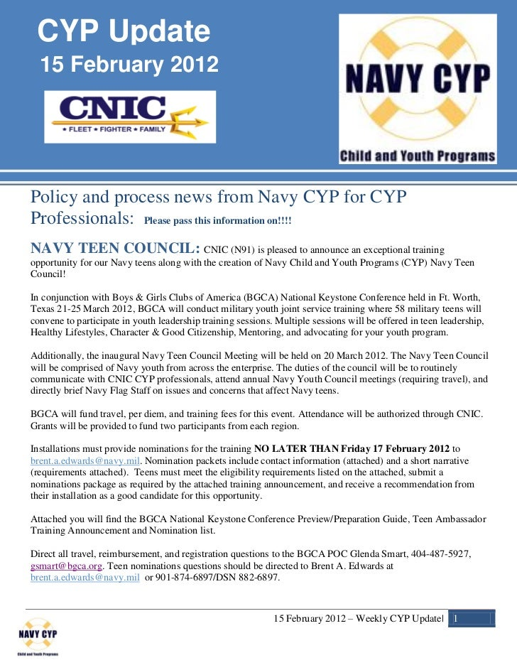 CYP Update  15 February 2012Policy and process news from Navy CYP for CYPProfessionals: Please pass this information on!!!...