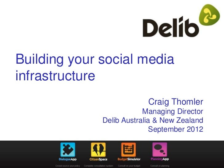 Building your social mediainfrastructure                           Craig Thomler                          Managing Directo...