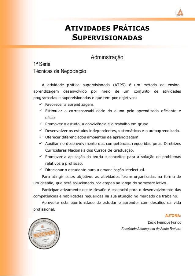 ATIVIDADES PRÁTICAS                   SUPERVISIONADAS                                Adminstração1ª SérieTécnicas de Negoc...