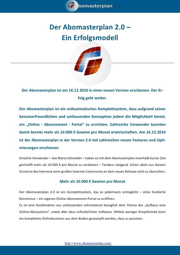 Der Abomasterplan 2.0 –                      Ein Erfolgsmodell Der Abomasterplan ist am 16.12.2010 in einer neuen Version ...