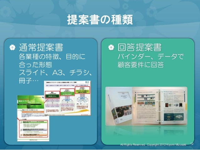 提案書の種類 | 通常提案書 各業種の特徴、目的に 合った形態 スライド、A3、チラシ、 冊子… | 回答提案書 バインダー、データで 顧客要件に回答 12 All Rights Reserved. Copyright 2012 Kiyomi ...