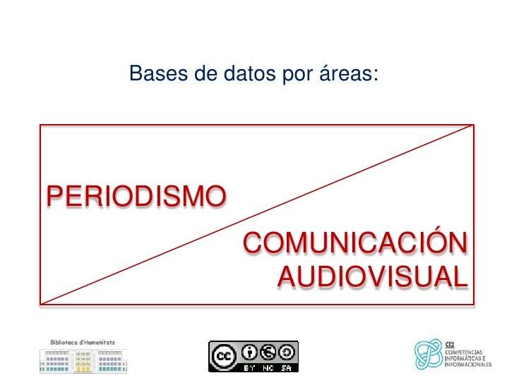 Bases de datos por áreas:PERIODISMO               COMUNICACIÓN                 AUDIOVISUAL