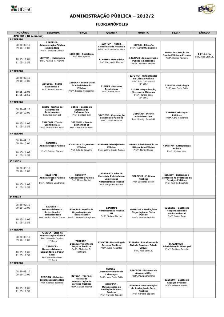 ADMINISTRAÇÃO PÚBLICA – 2012/2                                                                              FLORIANÓPOLIS ...