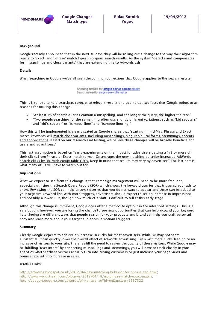 Google Changes                    Eldad Sotnick-                  19/04/2012                              Match type      ...