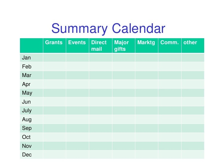 Summary Calendar Grants Events Direct