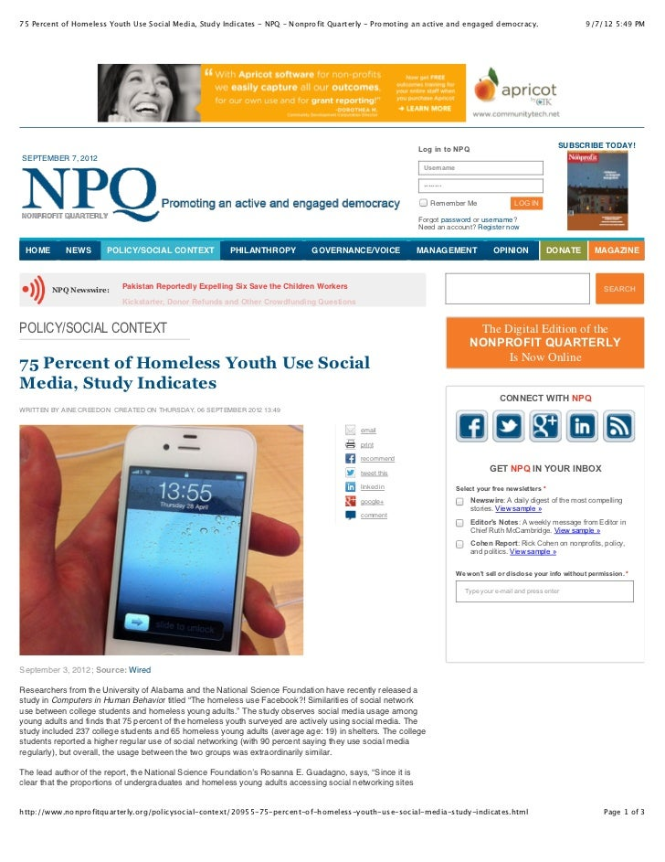 75 Percent of Homeless Youth Use Social Media, Study Indicates - NPQ – Nonprofit Quarterly - Promoting an active and engag...