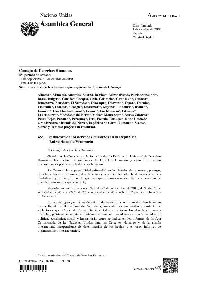 GE.20-12824 (S) 021020 021020  Consejo de Derechos Humanos 45º período de sesiones 14 de septiembre a 7 de octubr...