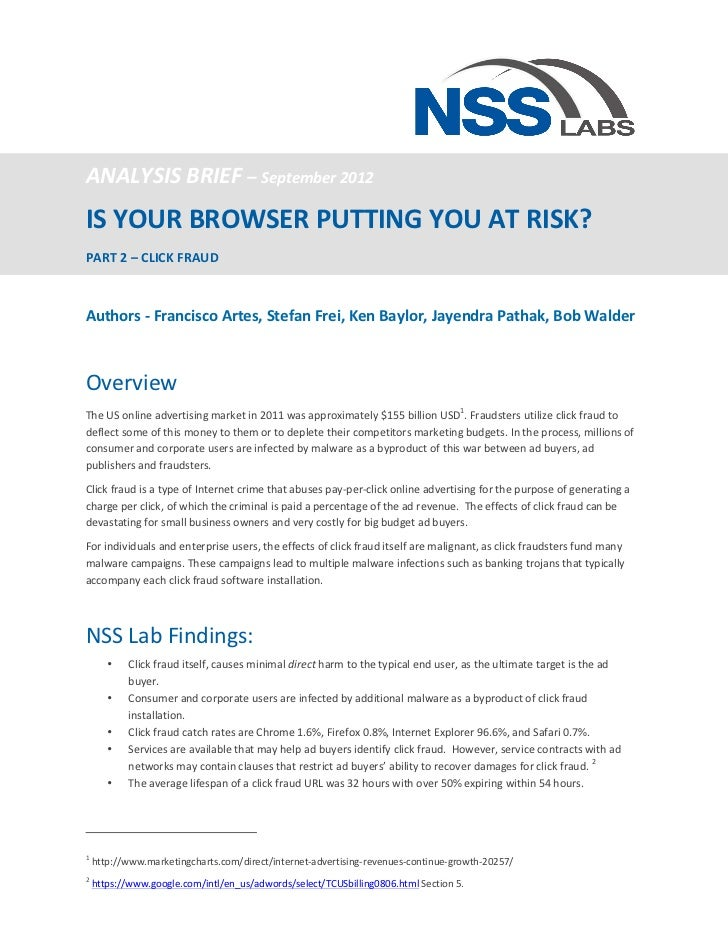 ANALYSIS	  BRIEF	  –	  September	  2012	  IS	  YOUR	  BROWSER	  PUTTING	  YOU	  AT	  RISK?	  	  PART	  2	  –	  CLICK	  FR...