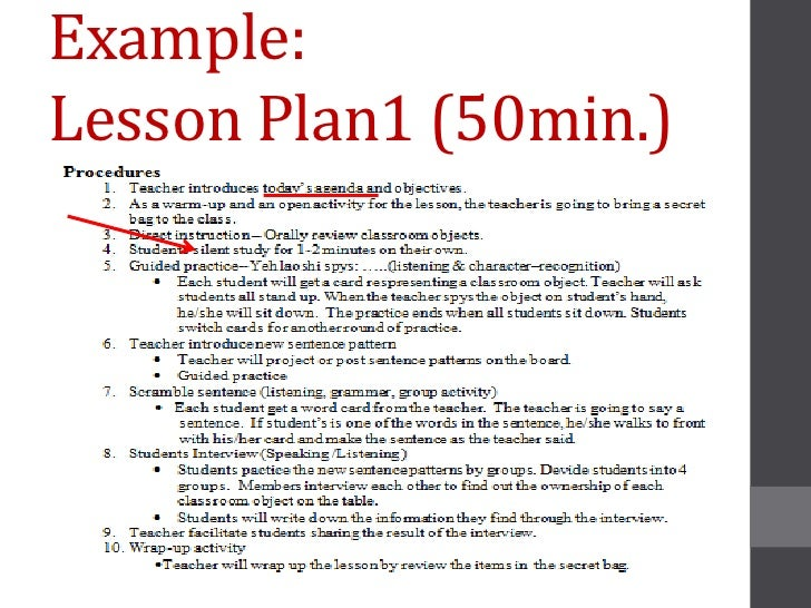 Example:Lesson Plan1 (50min.)