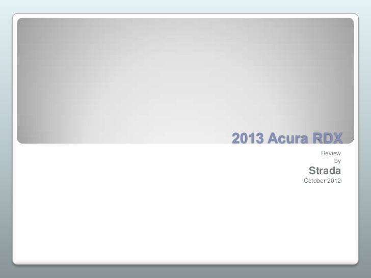 2013 Acura RDX              Review                  by          Strada         October 2012