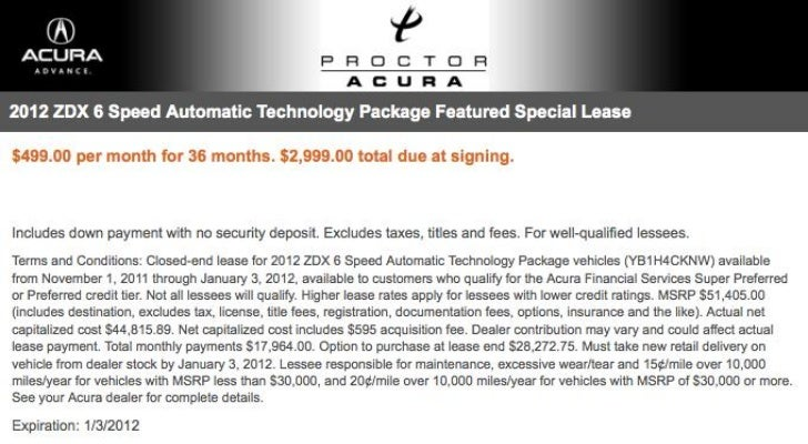 2012 Acura ZDX Lease Special FL | Acura Dealer Tallahassee