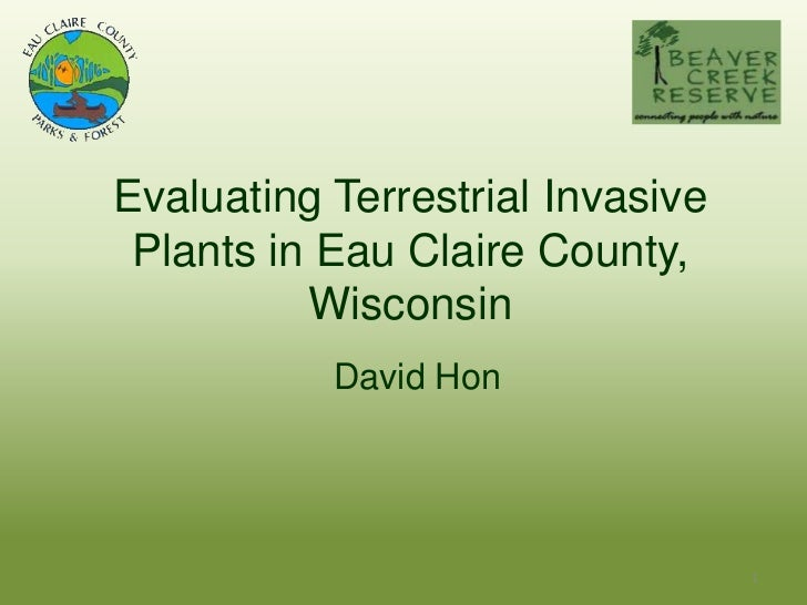 Evaluating Terrestrial Invasive Plants in Eau Claire County,          Wisconsin           David Hon                       ...
