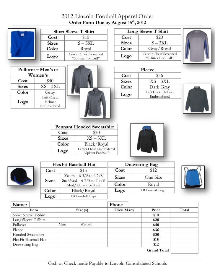 2012 Lincoln Football Apparel Order                                    Order Form Due by August 15th, 2012                ...