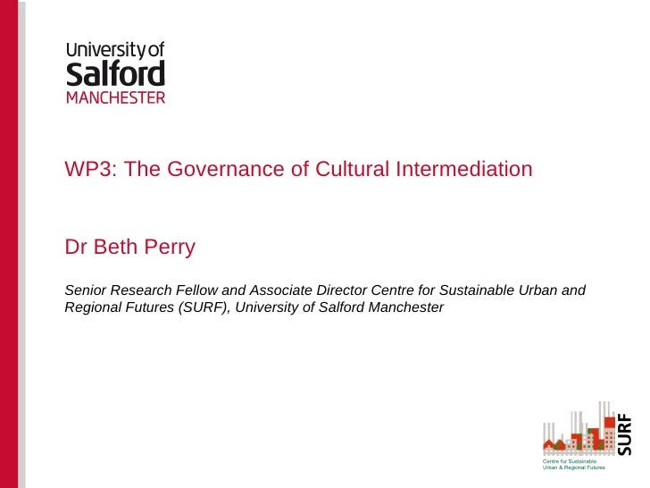WP3: The Governance of Cultural IntermediationDr Beth PerrySenior Research Fellow and Associate Director Centre for Sustai...