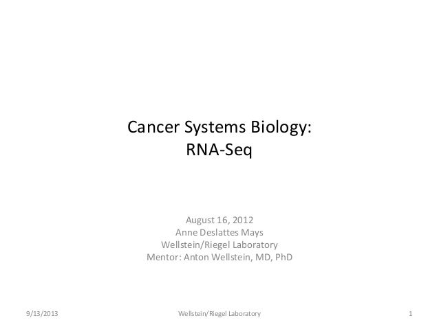 Cancer Systems Biology: RNA-Seq August 16, 2012 Anne Deslattes Mays Wellstein/Riegel Laboratory Mentor: Anton Wellstein, M...