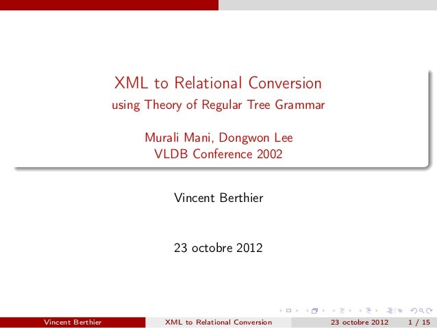 XML to Relational Conversion                   using Theory of Regular Tree Grammar                        Murali Mani, Do...