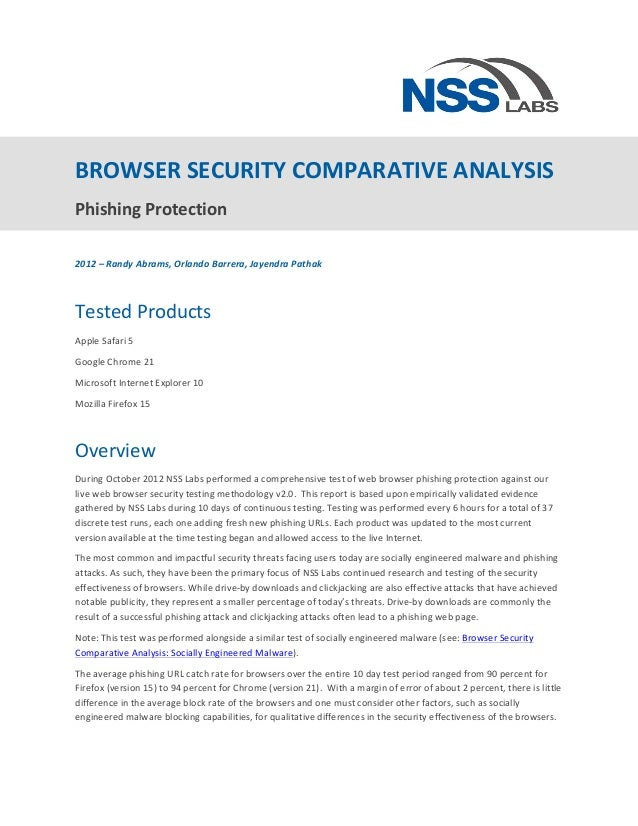 BROWSER	  SECURITY	  COMPARATIVE	  ANALYSIS	  Phishing	  Protection	  	  	  2012	  –	  Randy	  Abrams,	  Orlando	  Barrer...