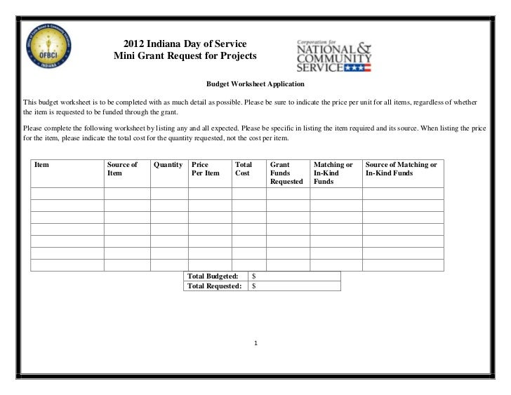 Day of Service MiniGrant Budget Worksheet 2012 – Community Service Worksheet
