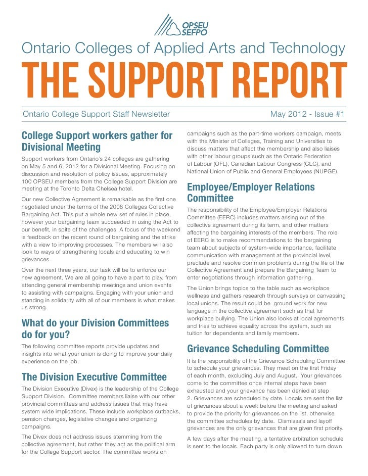 Ontario Colleges of Applied Arts and Technologythe support reportOntario College Support Staff Newsletter                ...