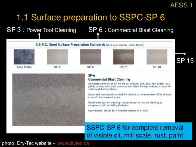 AESS 11.1 Surface preparation to SSPC-SP 6           Shot blast cleaning with            the use of abrasives