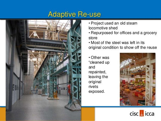Highlight Re-used Elements                             Steel beams                             saved from                 ...