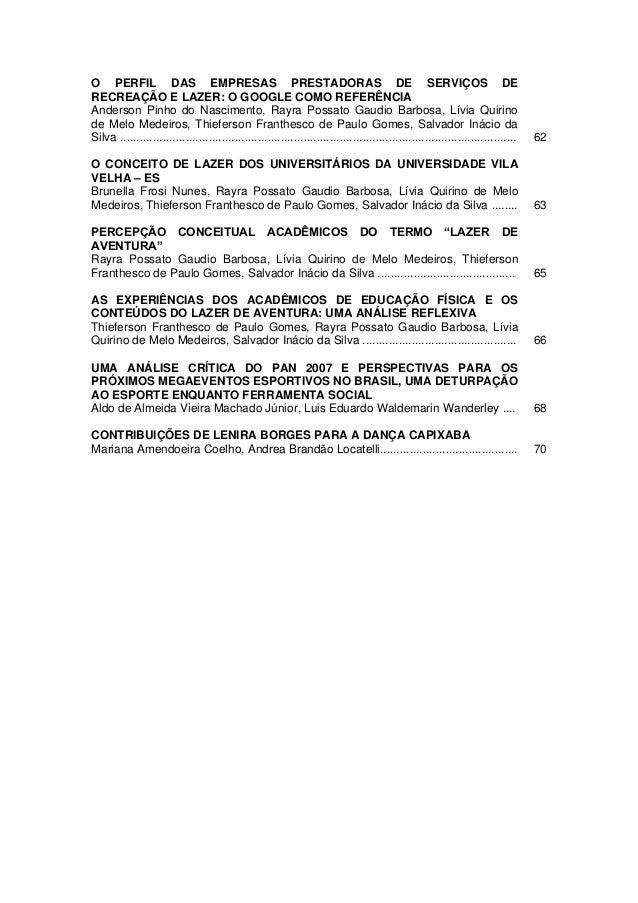 O PERFIL DAS EMPRESAS PRESTADORAS DE SERVIÇOS DERECREAÇÃO E LAZER: O GOOGLE COMO REFERÊNCIAAnderson Pinho do Nascimento, R...