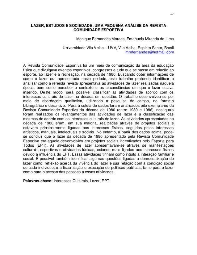 17    LAZER, ESTUDOS E SOCIEDADE: UMA PEQUENA ANÁLISE DA REVISTA                       COMUNIDADE ESPORTIVA               ...