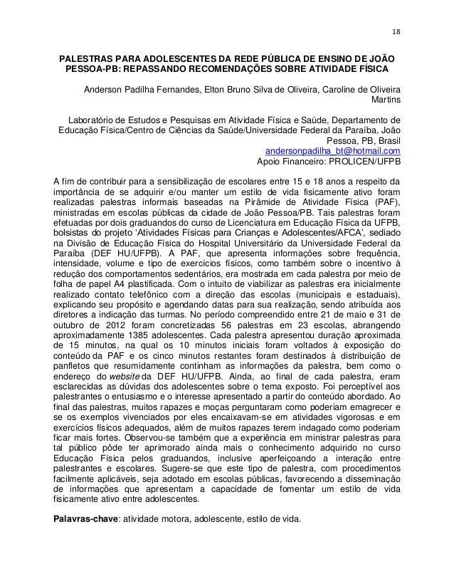 18 PALESTRAS PARA ADOLESCENTES DA REDE PÚBLICA DE ENSINO DE JOÃO  PESSOA-PB: REPASSANDO RECOMENDAÇÕES SOBRE ATIVIDADE FÍSI...